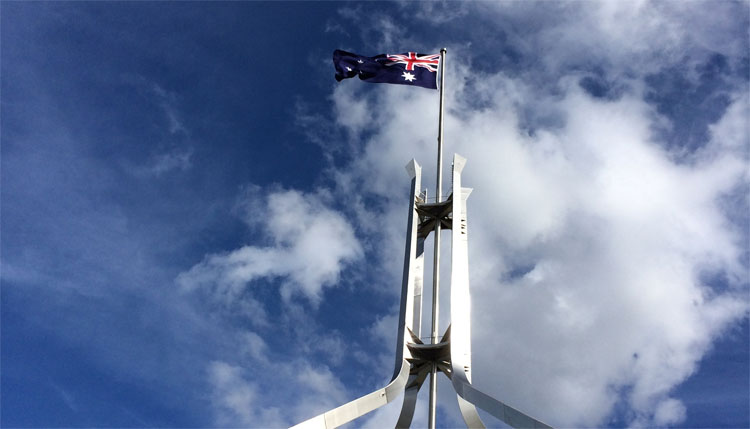Iconic Flagpole atop Parliament House in Canberra Australia
