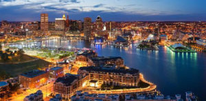 Baltimore, Maryland skyline at night