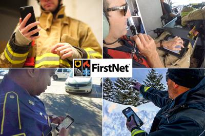 FirstNet logo and digital devices - backup station alerting