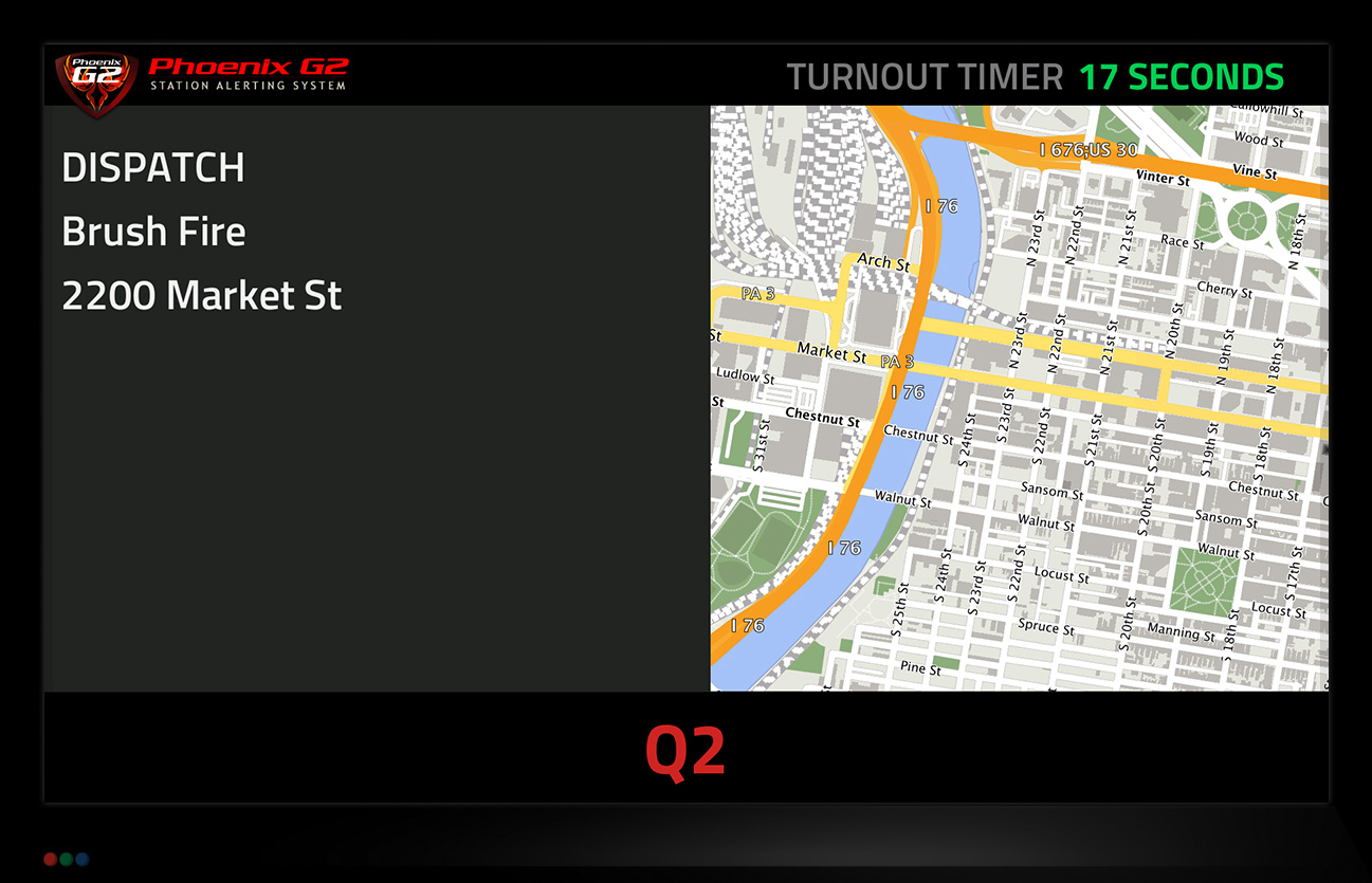 Example of how a fire station's HDTV screen displays a visual alert. As you can see, this screen is shown with a black background and location map. It includes noteworthy information such as incident type (medical), the incident address and cross streets. The turnout time also appears in bright green.