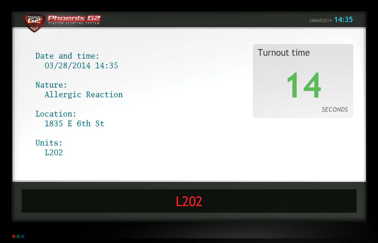 Example of an HDTV screen with a white background. This shows the date and time, nature of the incident (e.g., allergic reaction), incident location and the unit required to respond (L202). There's a large green turnout time counter.
